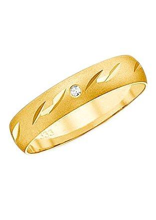 Firetti Trauring mit Gravur »Fein Sandmatt, Diamantschnitt« Made in Germany | Schmuck > Ringe > Ringe mit Gravur | Goldfarben | Firetti
