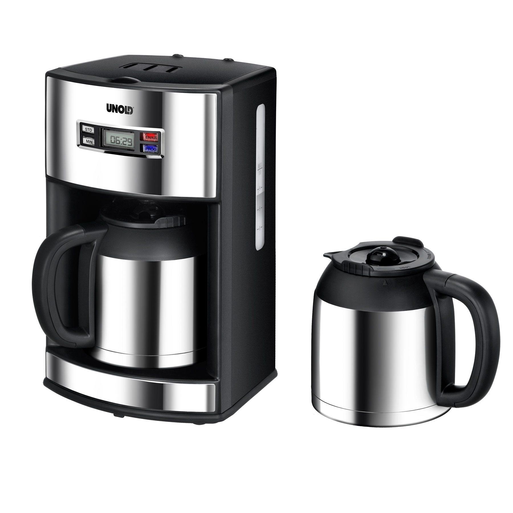 Unold Filterkaffeemaschine 28465 Digital, 1,2l Kaffeekanne, Permanentfilter 1x4, Zusätzlich zweite Warmhaltekanne