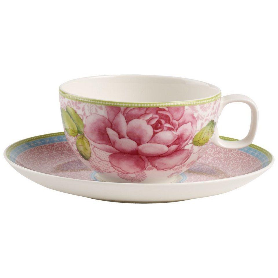 VILLEROY & BOCH Teetasse mit Untertasse 2tlg. - pin »Rose Cottage« in Dekoriert