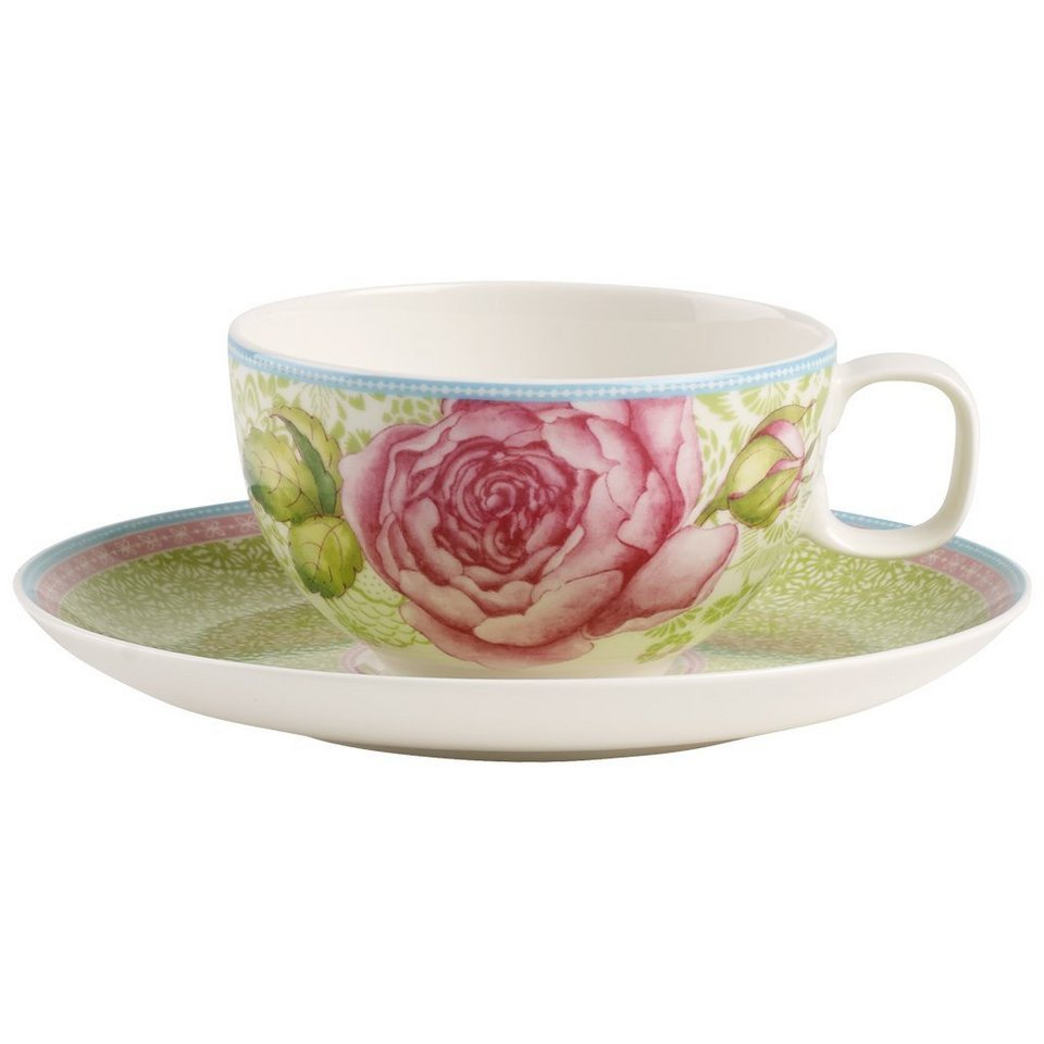 VILLEROY & BOCH Teetasse mit Untertasse 2tlg. - grü »Rose Cottage« in Dekoriert
