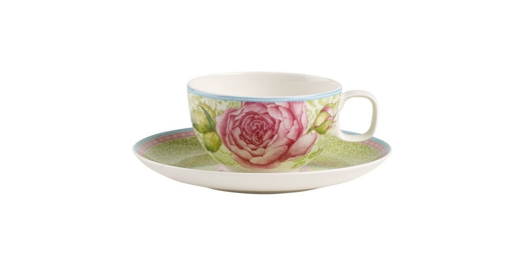 VILLEROY & BOCH Teetasse mit Untertasse 2tlg. - grü »Rose Cottage«