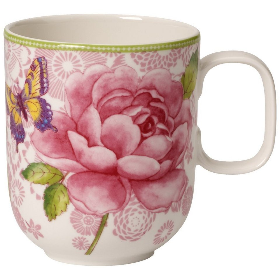 VILLEROY & BOCH Becher m. Henkel - pink »Rose Cottage« in Dekoriert