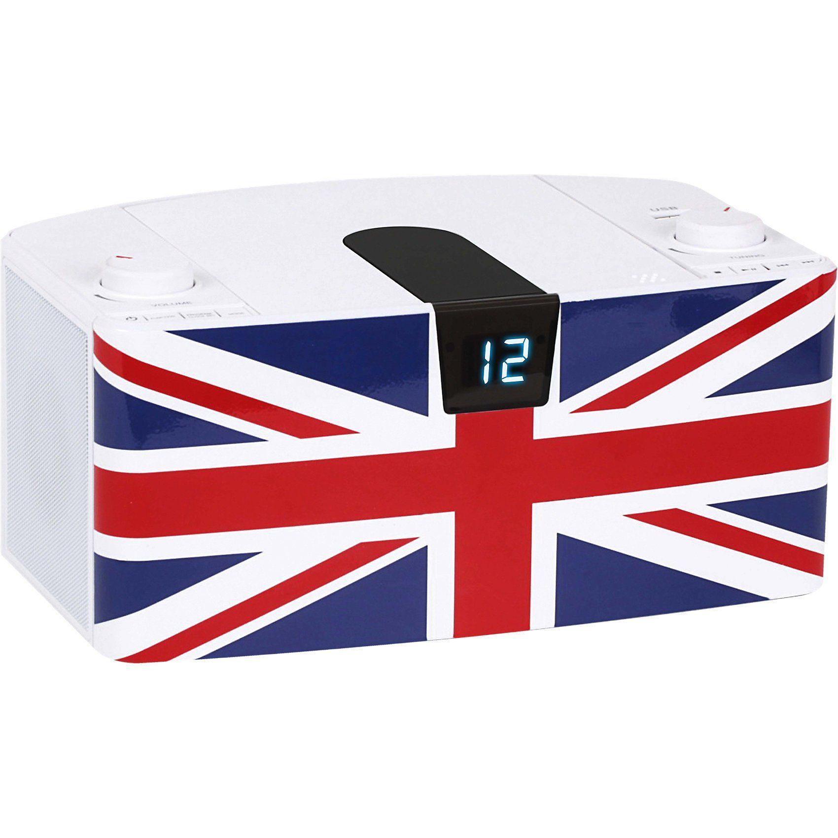 BigBen CD-Player mit USB + Radio CD57 UK Fahne, weiß