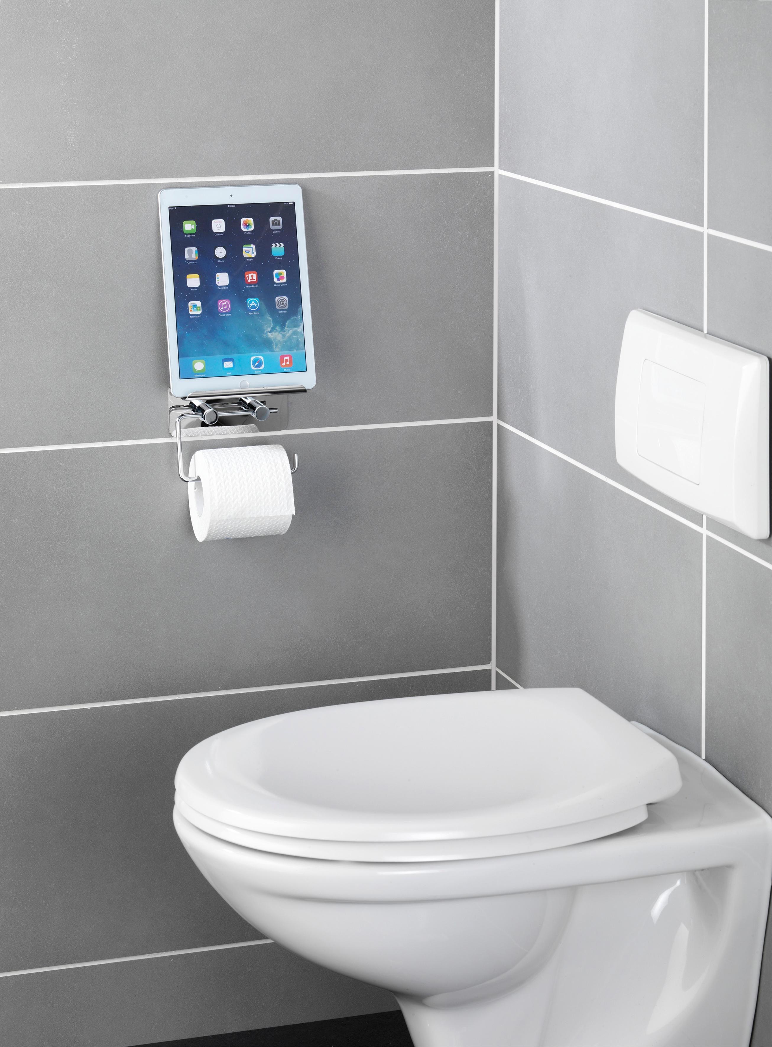 Wenko Toilettenpapierhalter mit Smartphone Ablage und 2 Turbo-Loc Haken, 3-teiliges Set