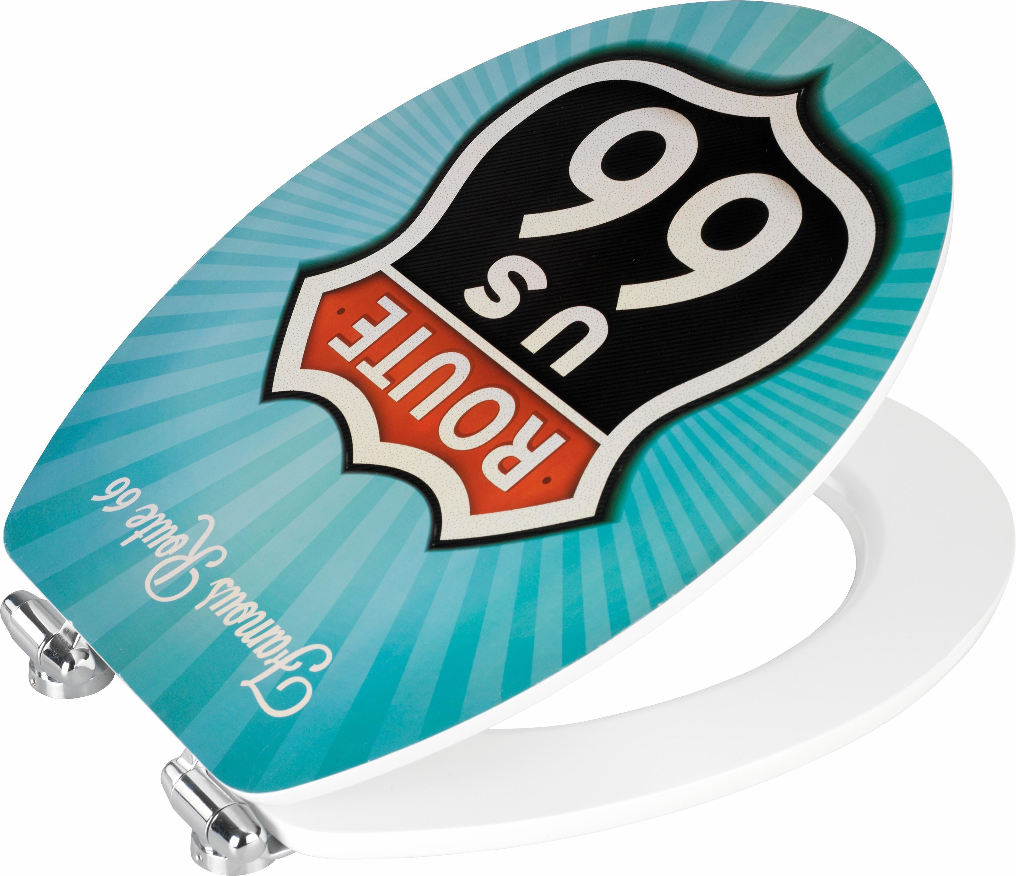 Wenko WC-Sitz Vintage Route 66, Metal Plate Oberfläche, Absenkautomatik