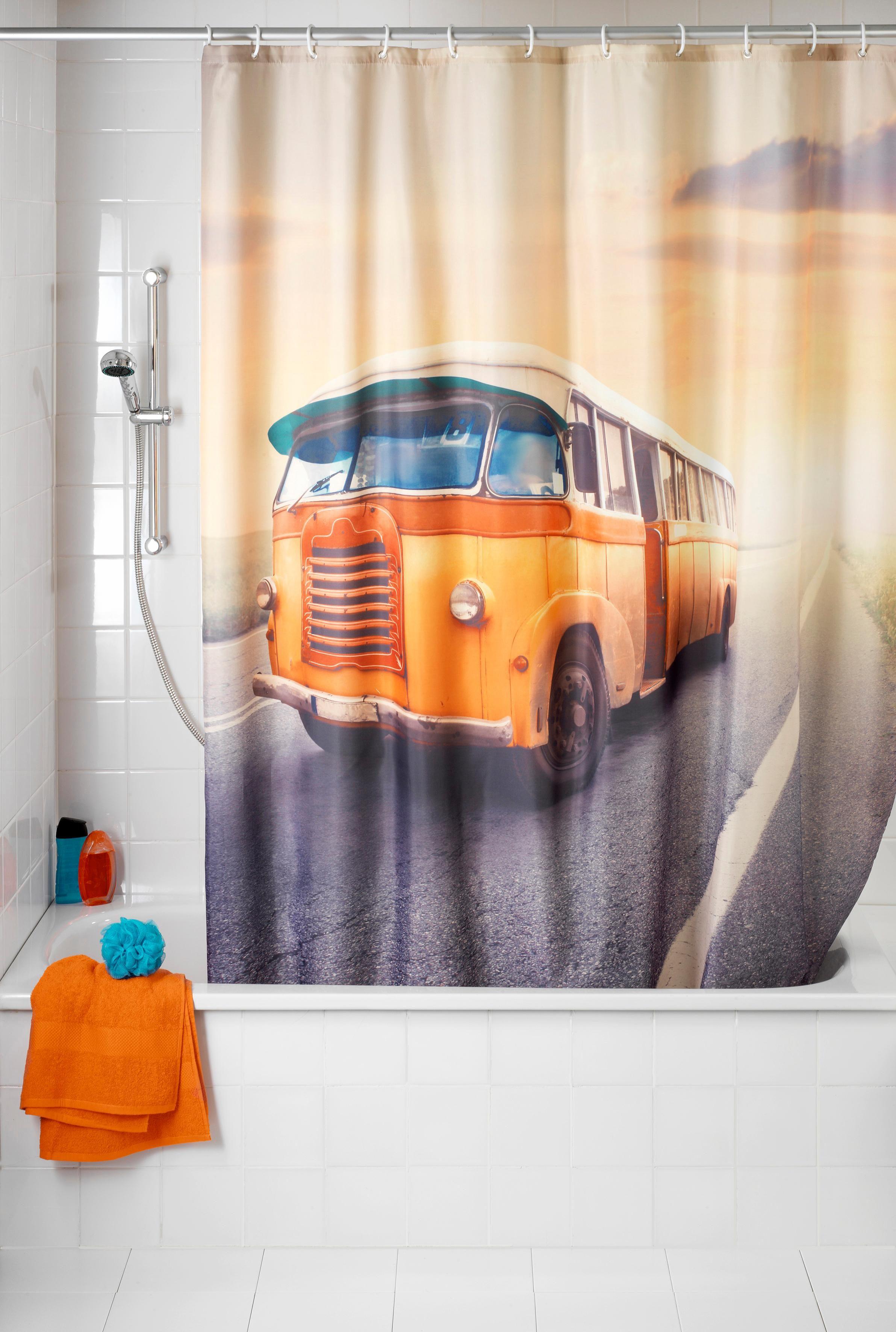 Wenko Anti-Schimmel Duschvorhang Vintage Bus, 180/200 cm, waschbar