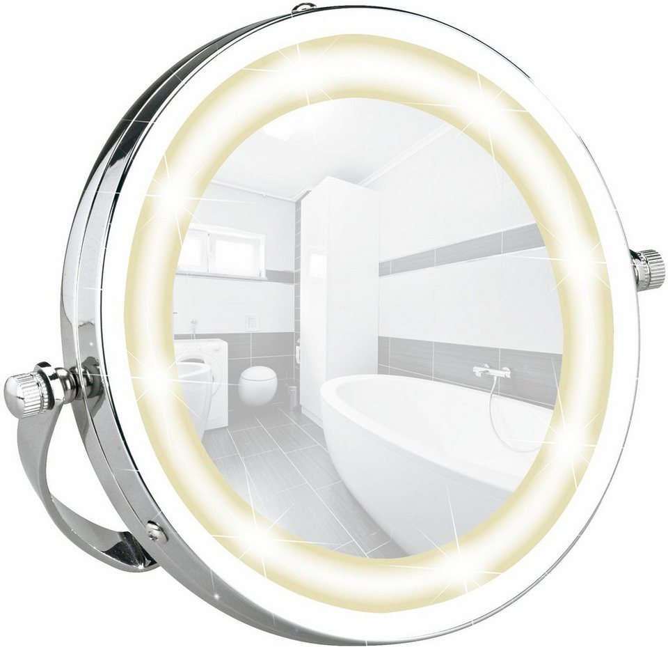 Wenko LED Kosmetikspiegel Brolo, Handspiegel, 3-fach Vergrößerung in Chrom