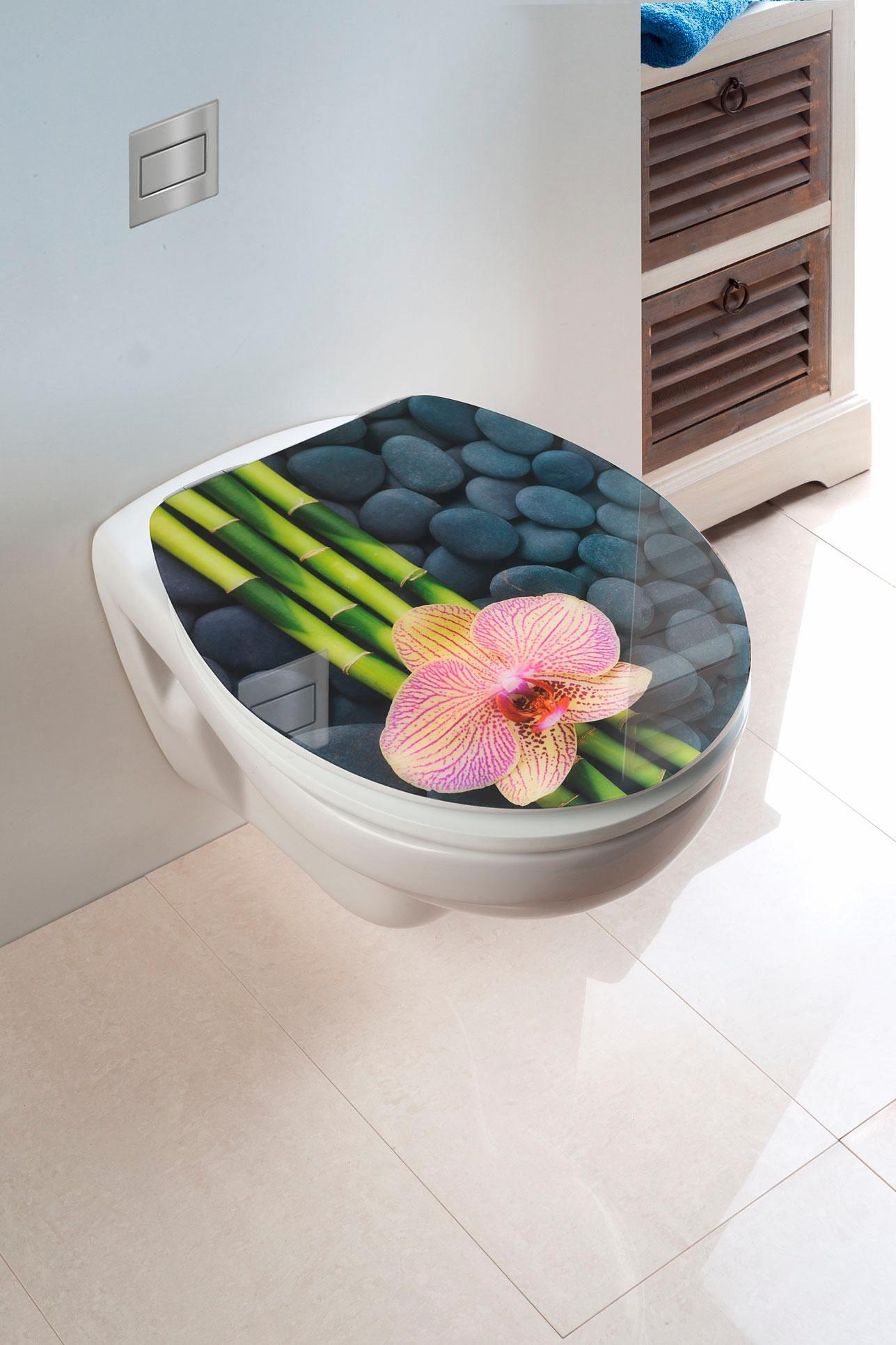 Wenko WC-Sitz Hochglanz Acryl Spa, Absenkautomatik, Fix-Clip Hygiene Befestigung