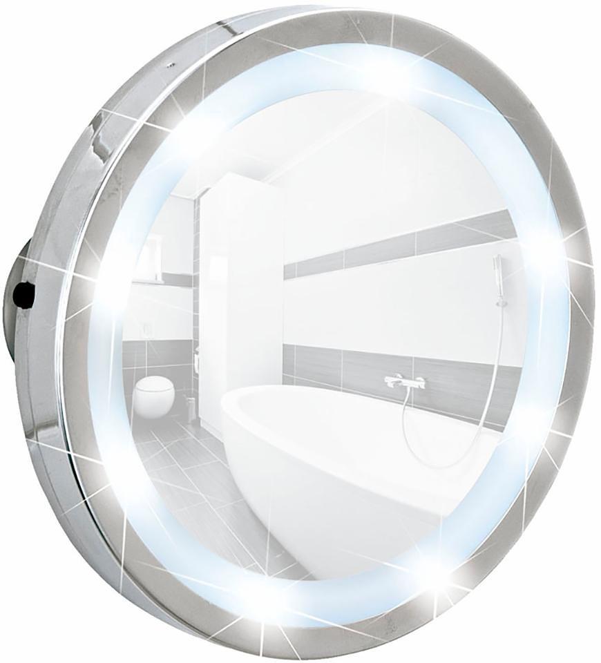 Wenko LED Leuchtspiegel Mosso, mit 3 Saugnäpfen, 3-fach Vergrößerung in Chrom