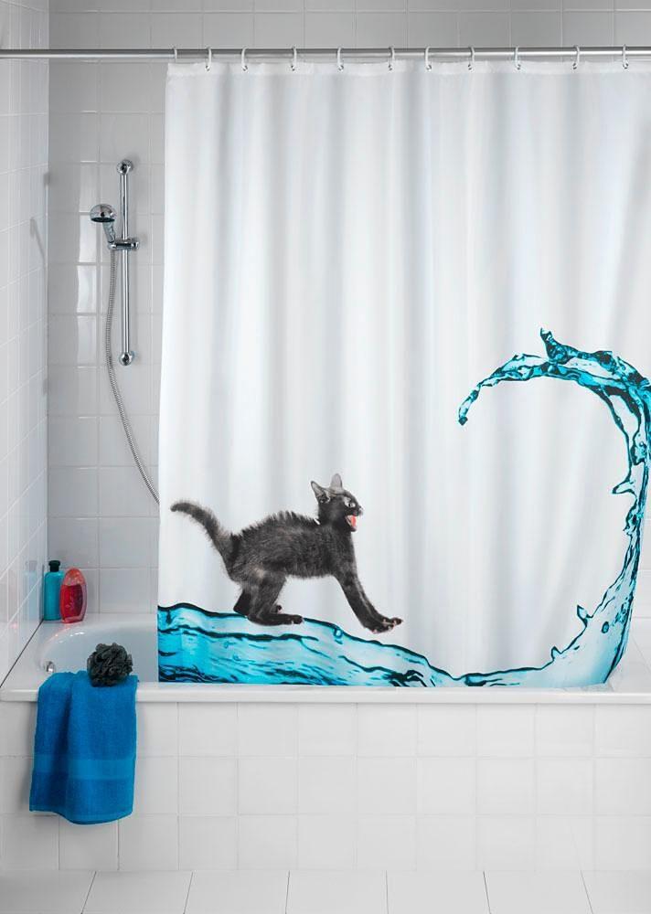 WENKO Anti-Schimmel Duschvorhang Cat, 180/200 cm, waschbar