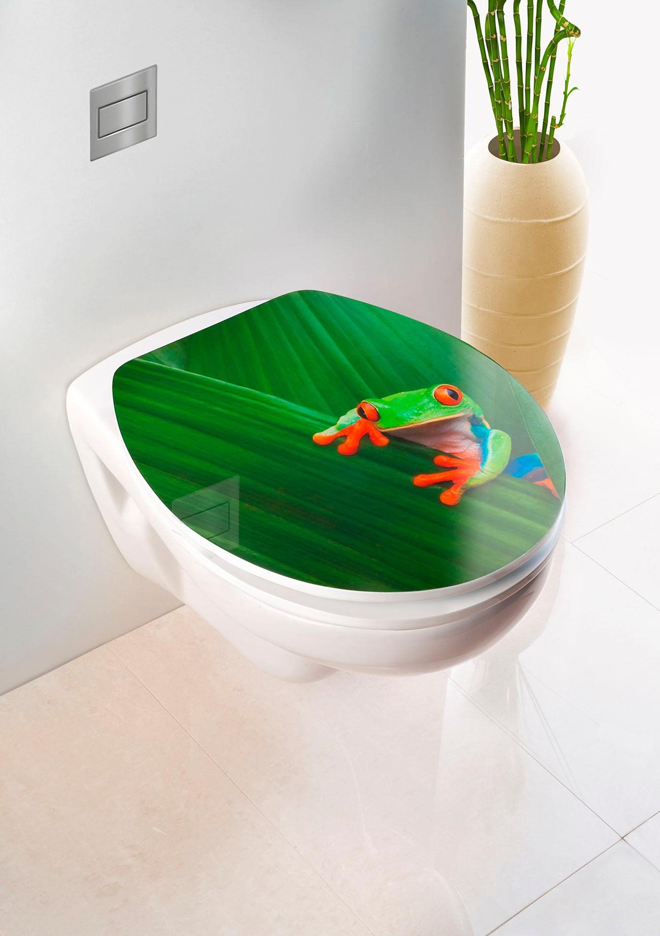 Wenko WC-Sitz Hochglanz Acryl Frog, Absenkautomatik, Fix-Clip Hygiene Befestigung