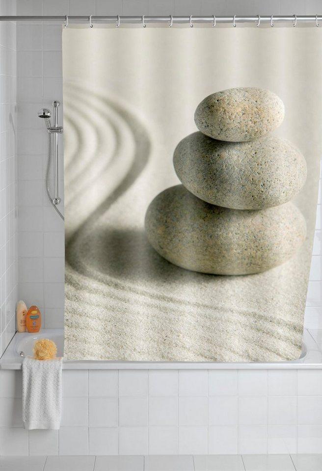 Wenko Duschvorhang Sand & Stone, 180/200 cm, waschbar in Mehrfarbig