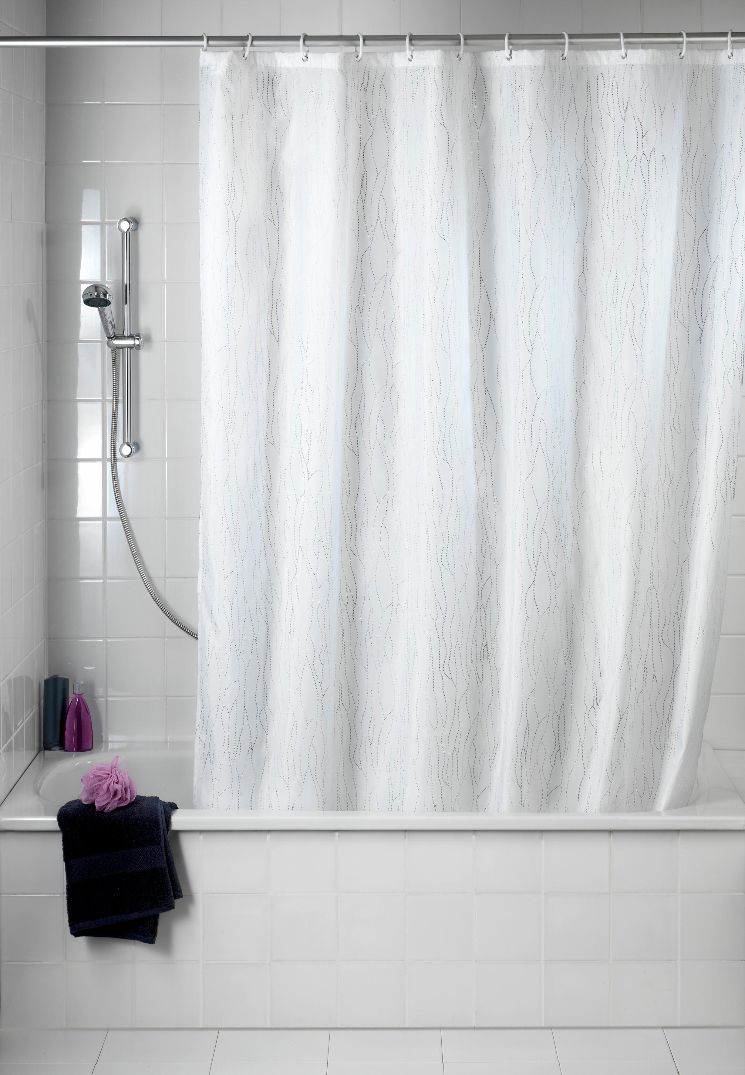 WENKO Duschvorhang Deluxe, mit glänzenden Applikationen, 180/200 cm, waschbar