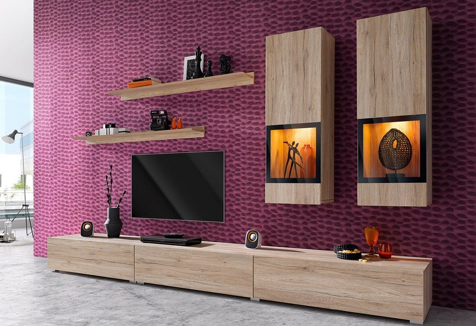 wohnwand baros 6 tlg online kaufen otto. Black Bedroom Furniture Sets. Home Design Ideas