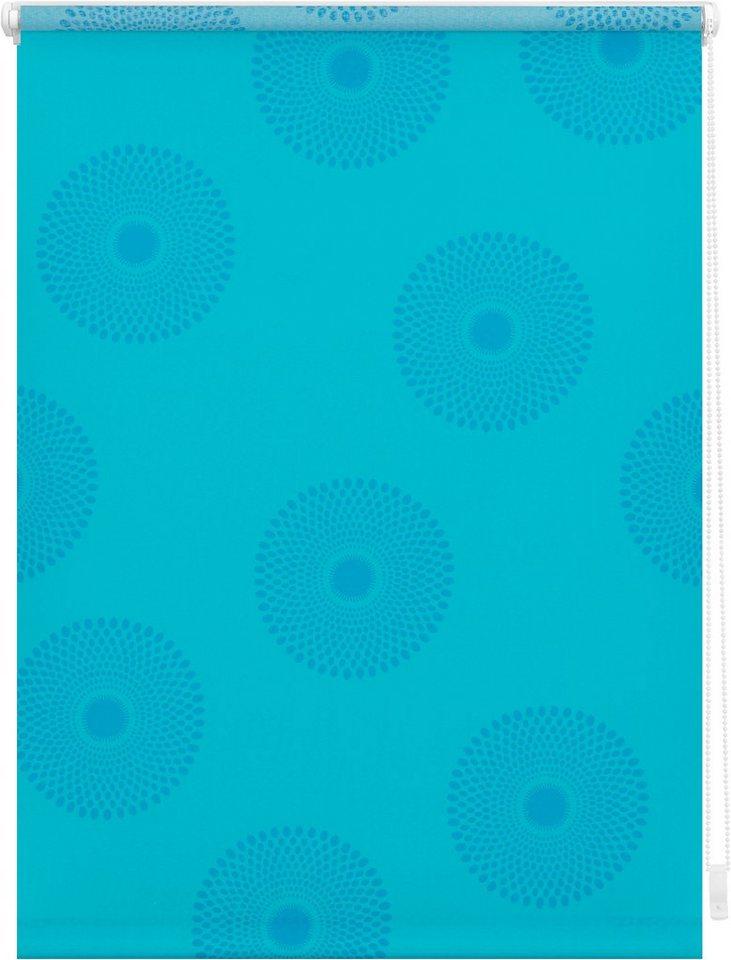 Seitenzugrollo, Lichtblick, »Klemmfix Dekor Mandala«, Lichtschutz, Fixmaß, ohne Bohren in blau