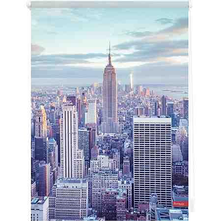 Seitenzugrollo, Lichtblick, »Klemmfix Dekor New York«, Lichtschutz, Fixmaß, ohne Bohren
