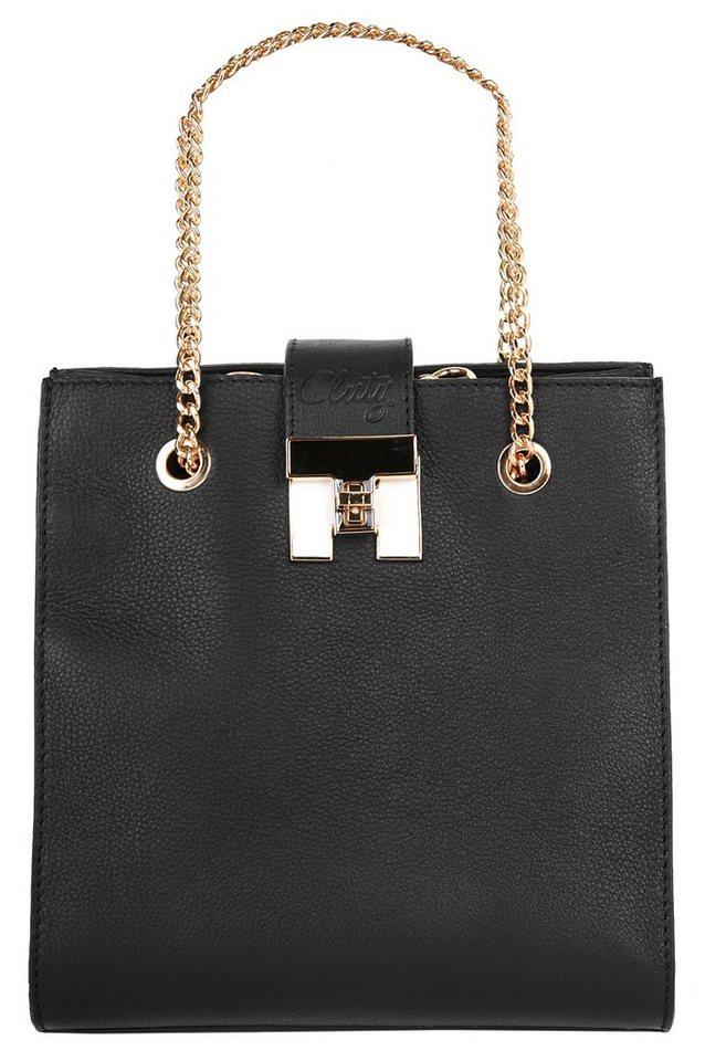 Cluty Leder Damen Abendtasche in schwarz