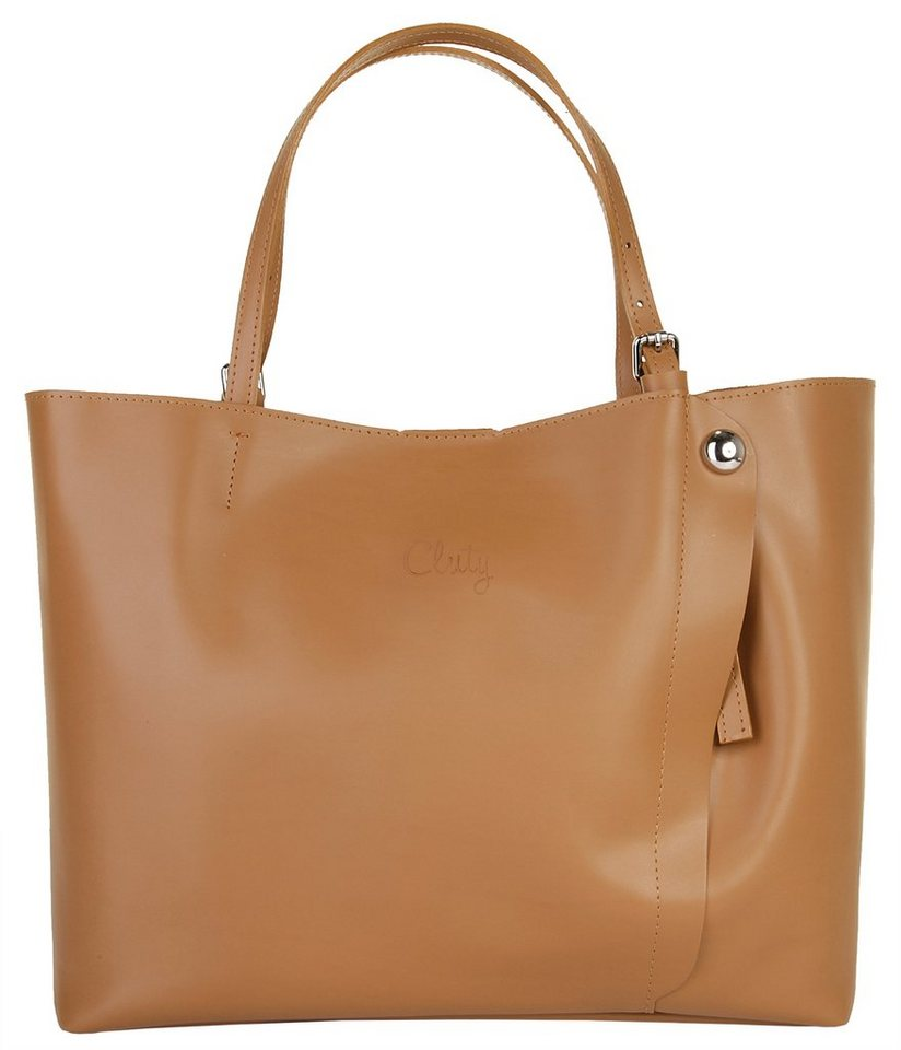 Cluty Leder Damen Shopper in cognac