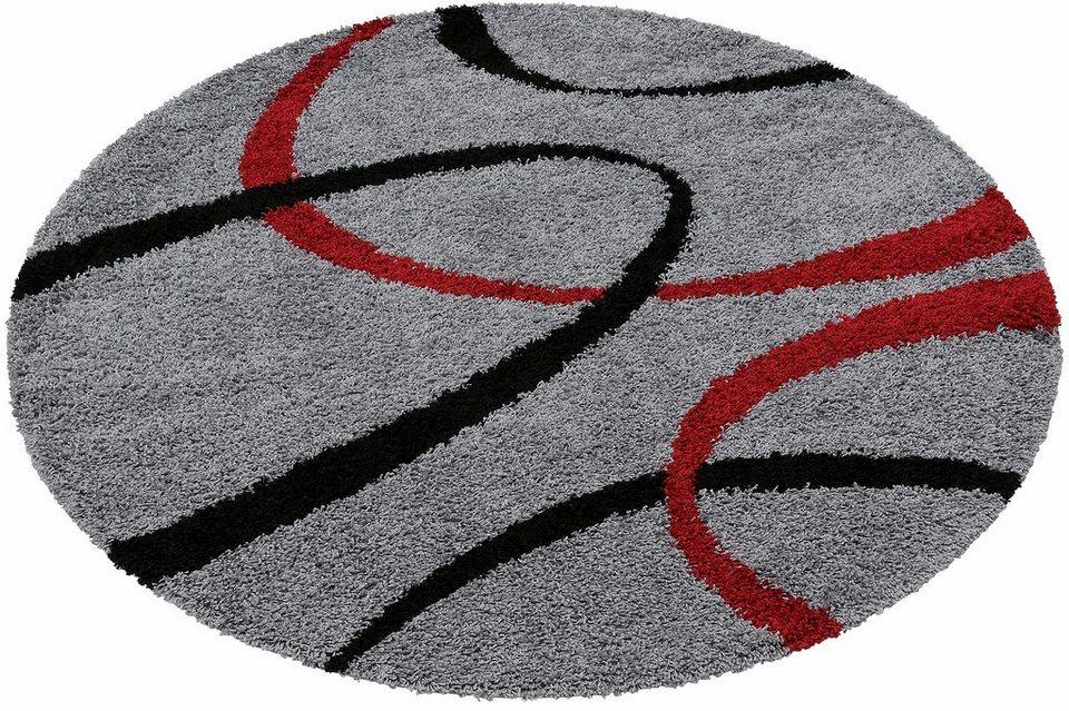 Hochflor-Teppich, rund, my home, »Vigo«, Höhe 30 mm, gewebt in grau