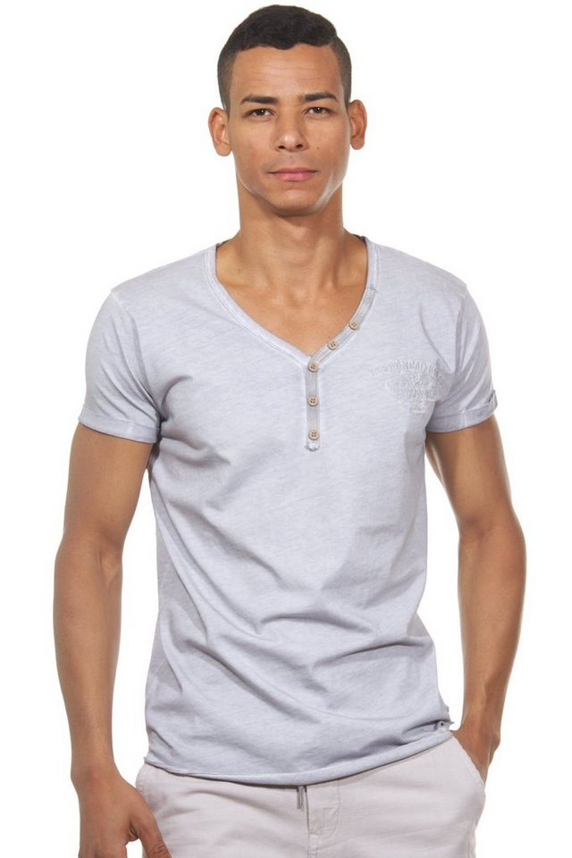 R-NEAL Henley T-Shirt slim fit in grau