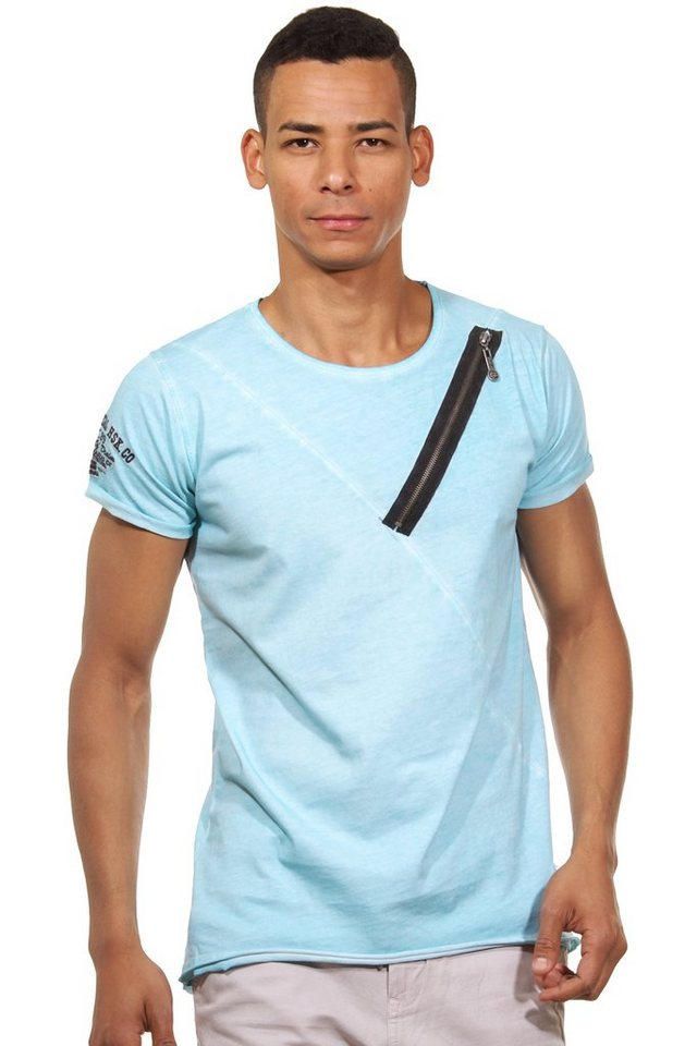 R-NEAL T-Shirt Rundhals slim fit in türkis