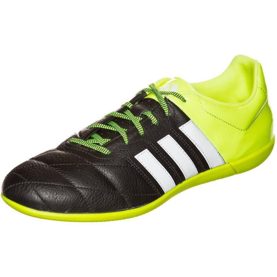 adidas Performance ACE 15.3 Indoor Leather Fußballschuh Herren in schwarz / neongelb