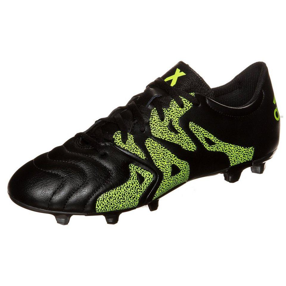 adidas Performance X 15.3 FG/AG Leather Fußballschuh Herren in schwarz / neongelb