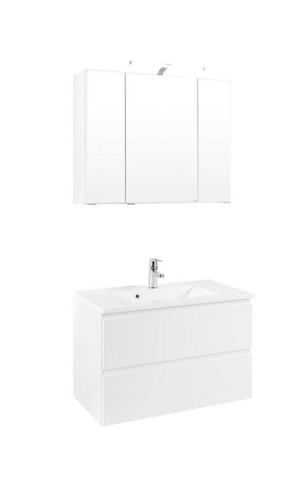 Held Möbel Badmöbel-Set »Cardiff«, Breite 80 cm, 2-teilig in weiß