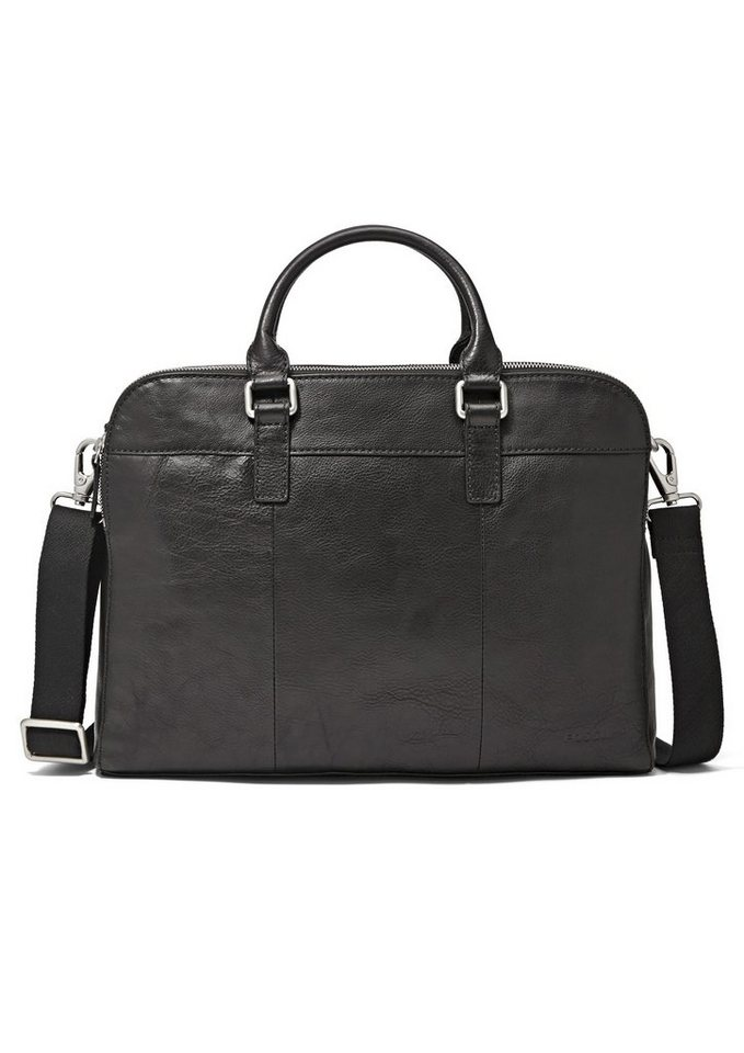 Fossil Messenger Bag »MERCER DOUBLE ZIP WORKBAG« aus Leder in schwarz