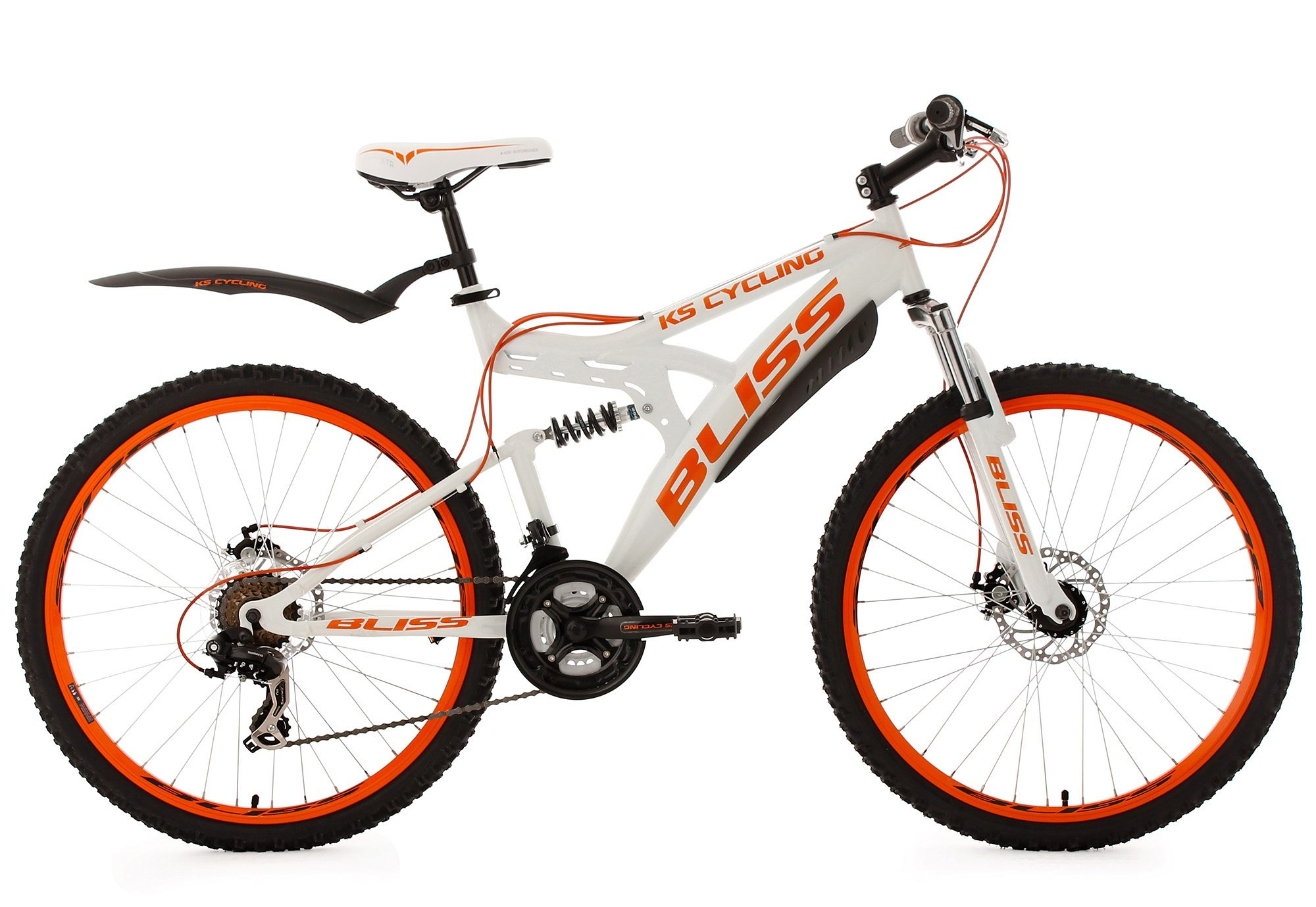KS Cycling Fully Mountainbike, 26 Zoll, weiß-orange, 21 Gang Kettenschaltung, »Bliss«