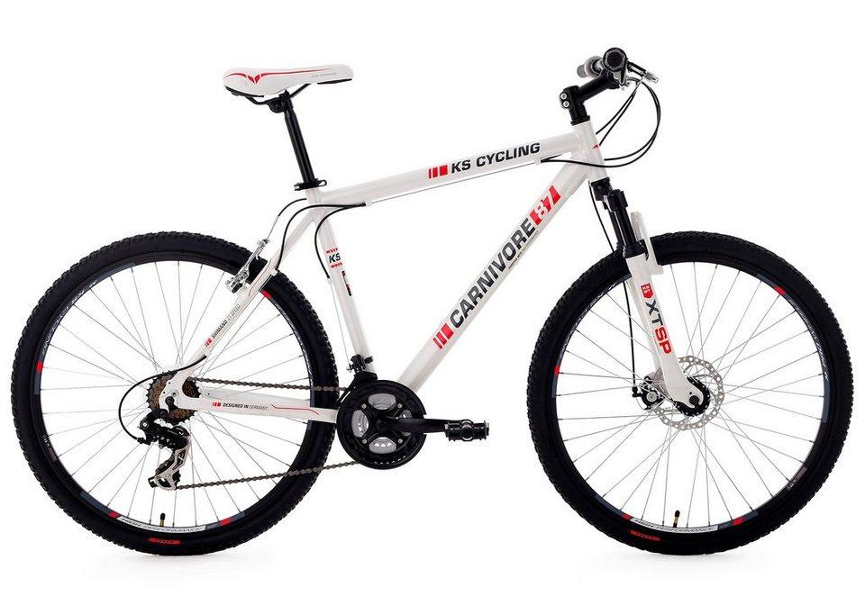 ks cycling hardtail mountainbike 27 5 zoll wei 21 gang kettenschaltung carnivore online. Black Bedroom Furniture Sets. Home Design Ideas