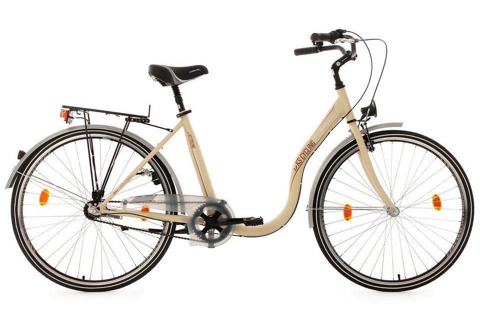 KS Cycling City Damenfahrrad, Tiefeinsteiger, 28 Zoll, beigefarben, 3 Gang Nabenschaltung, »Sahara« in beigefarben