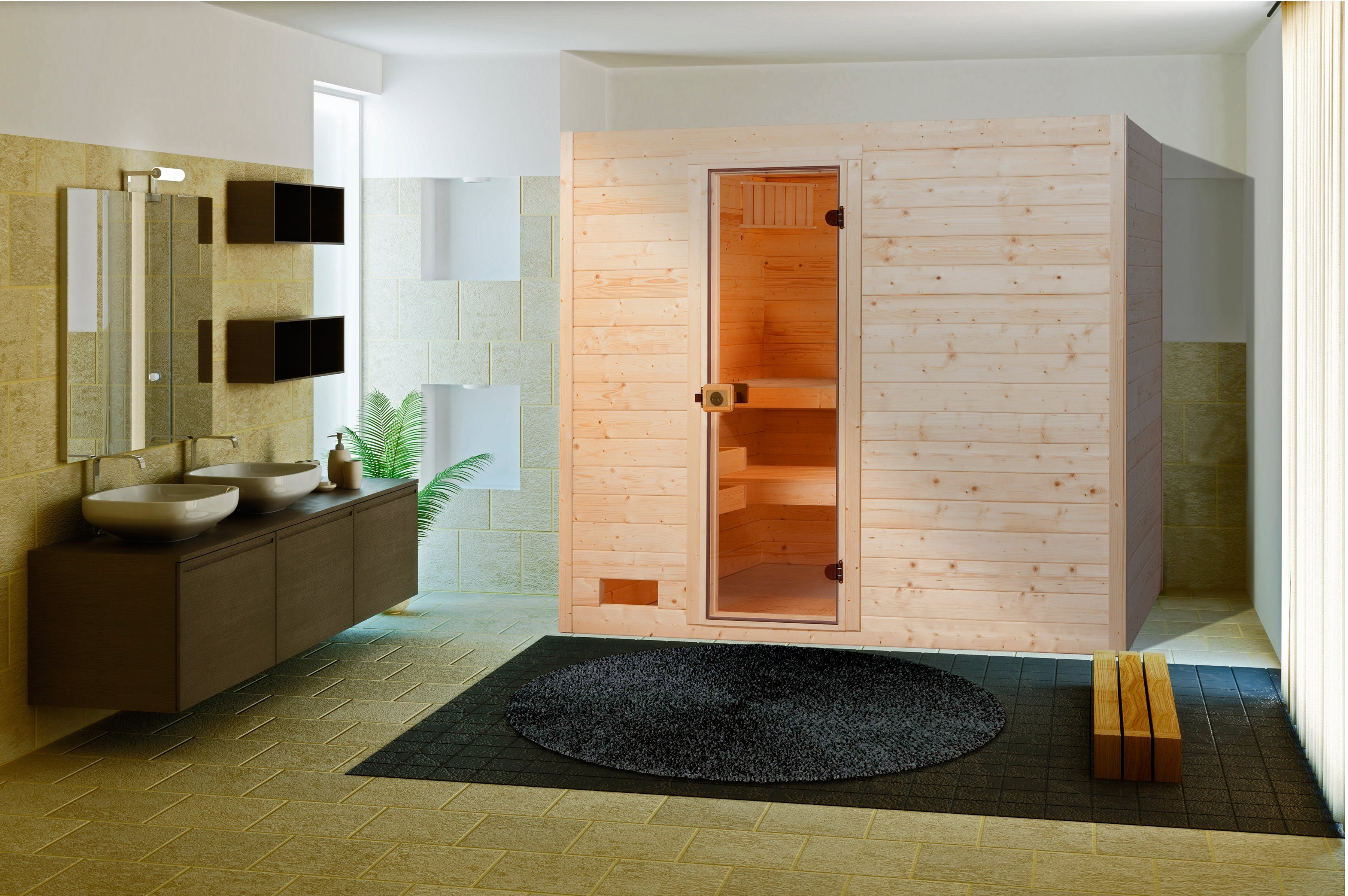 Sauna »Lars Trend 2«, 187/187/203,5cm, 38 mm, 8-KW-Ofen
