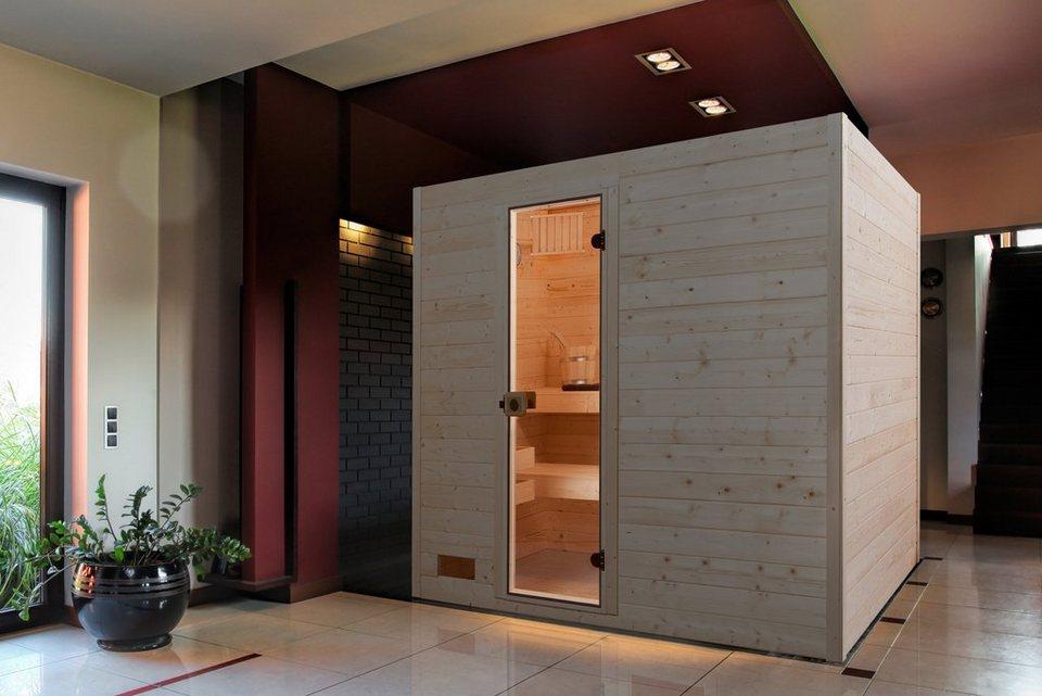 Sauna »Vaasa 2«, 237/187/203,5 cm, 38 mm, 7,5-KW-Ofen in natur