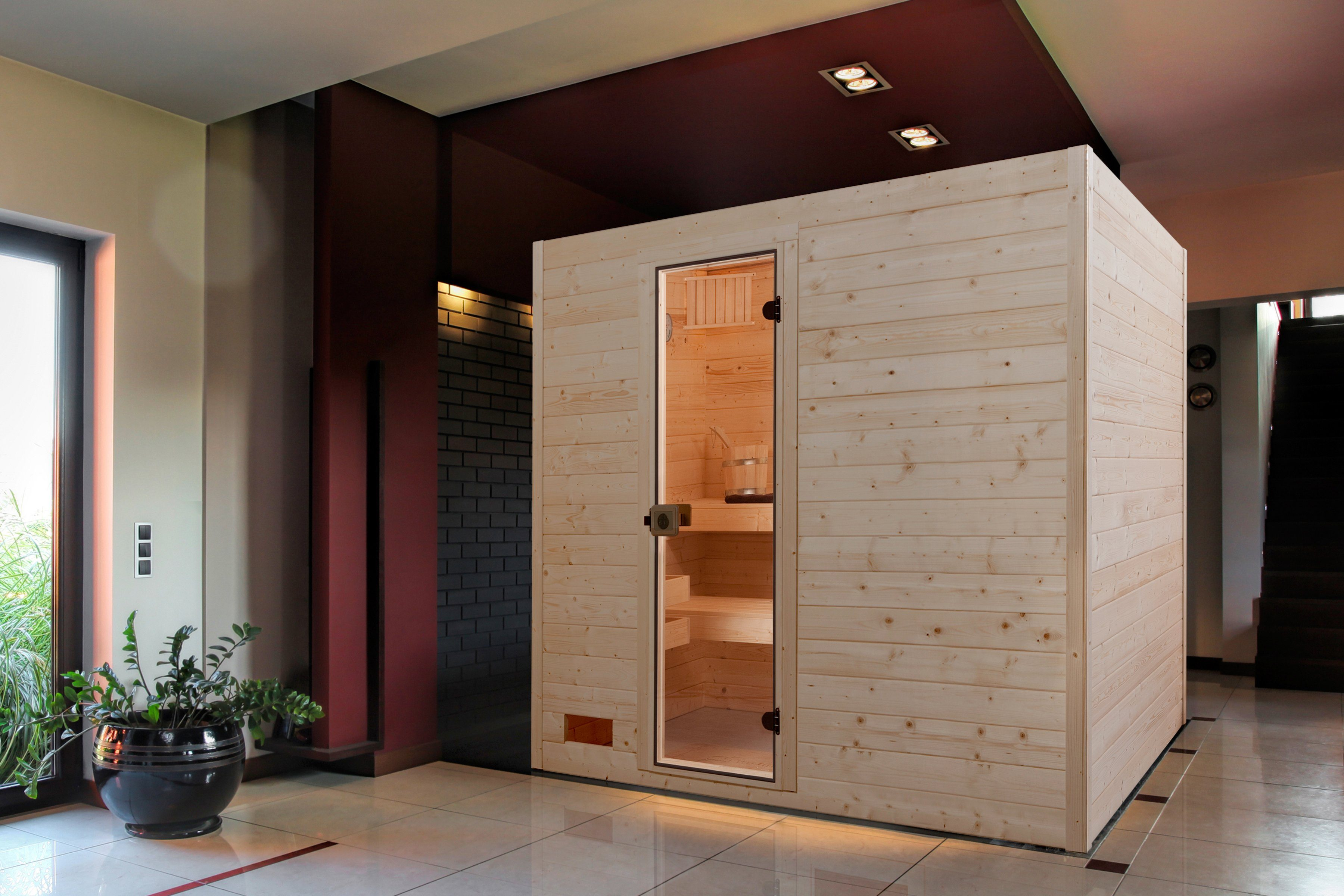 Weka Sauna »Vaasa 3«, 237/187/203,5cm, 38 mm, 8-KW-Ofen int. Steuerung