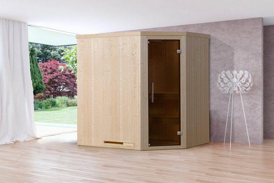 Sauna »Lyngdal 2 Trend Kompakt«, 192/141/199 cm, 68 mm, 8-KW-Ofen in natur