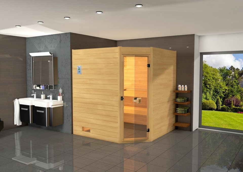 Sauna »Vaasa 3«, 237/187/203,5 cm, 38 mm, 7,5-KW-Kombiofen in natur