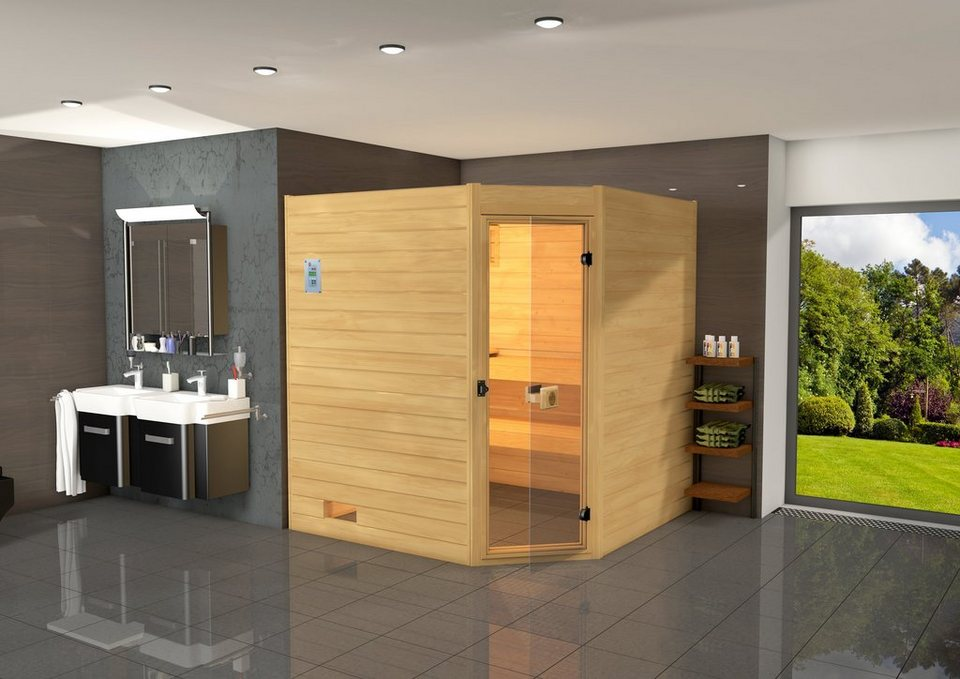 Weka Sauna »Vaasa 3«, 237/187/203,5 cm, 8-KW-Ofen mit int. Steuerung in natur
