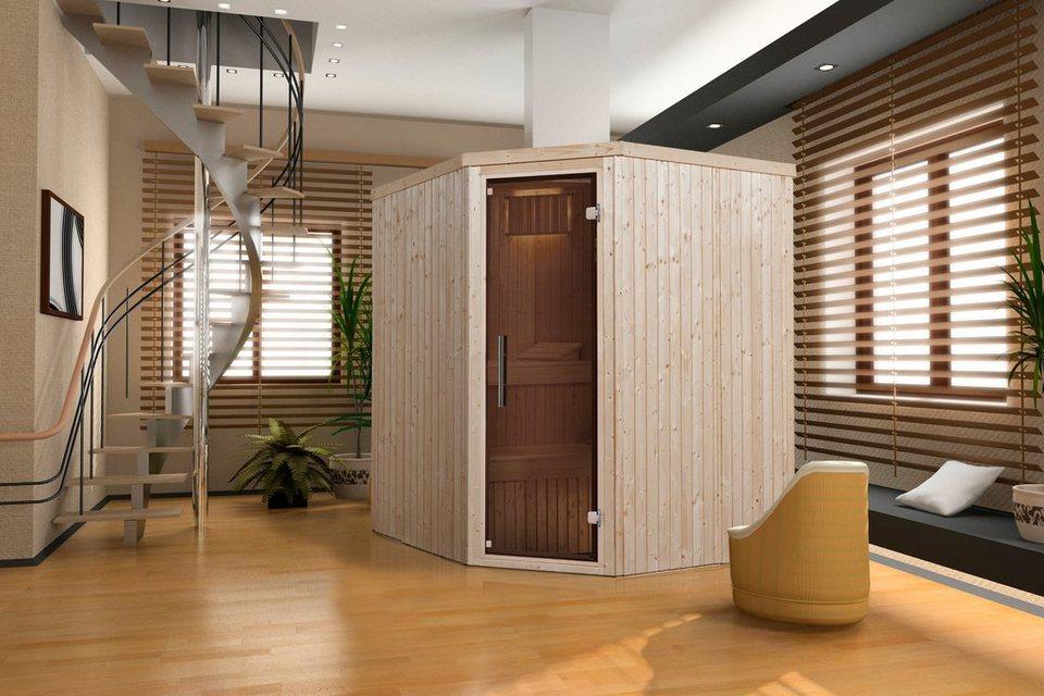 Sauna »Lyngdal 3 Trend Kompakt«, 192/175/199 cm, 68 mm, 8-KW-Ofen in natur
