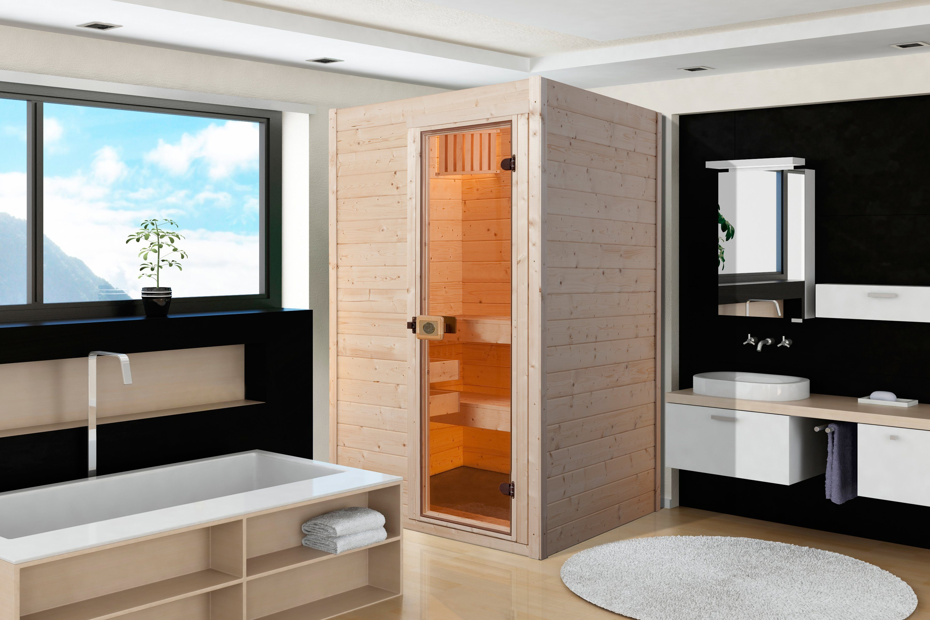 Sauna »VAASA 1«, 137/137/203,5 cm, 38 mm, 3,6-KW-Ofen