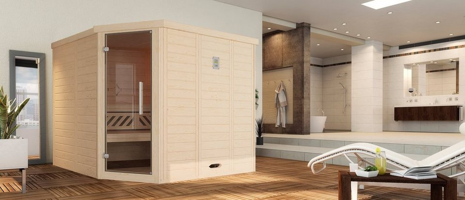 Sauna »Brevik 2«, 238/188/199 cm, 7,5-KW-Ofen mit ext. Steuerung in natur