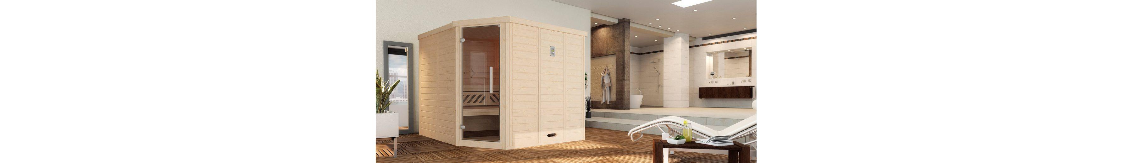 Sauna »Brevik 2«, 238/188/199 cm, 7,5-KW-Ofen mit ext. Steuerung