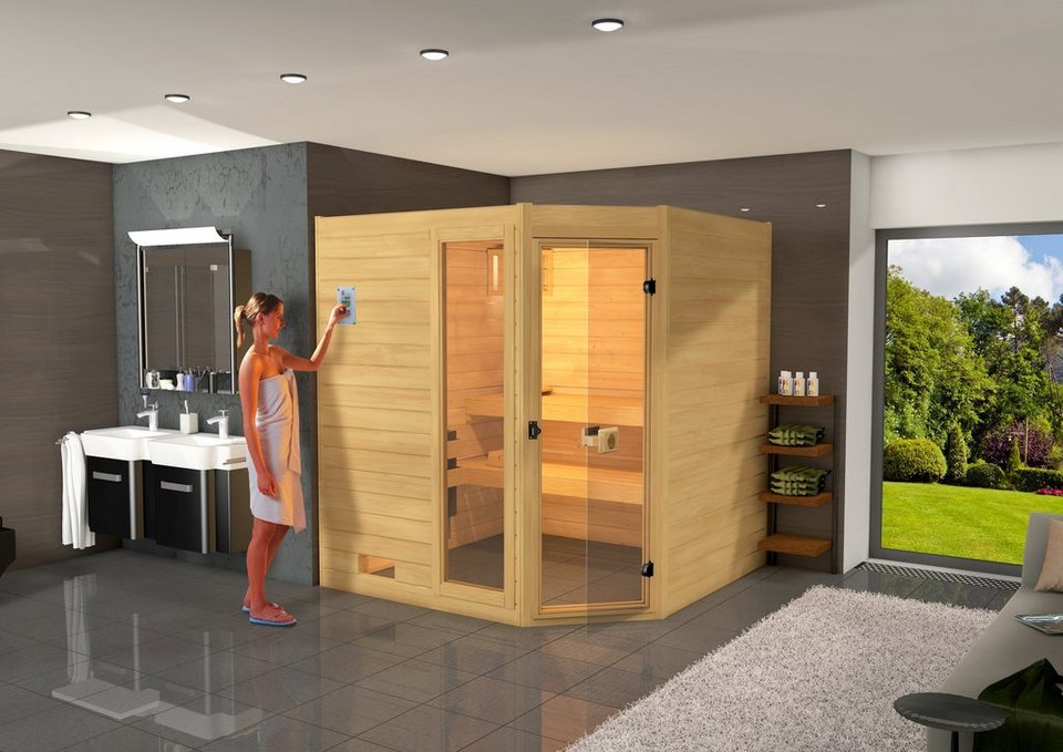 Sauna »Lars Eck 1«, 87/137/203,5 cm, 6,0-KW-Ofen mit int. Steuerung in natur