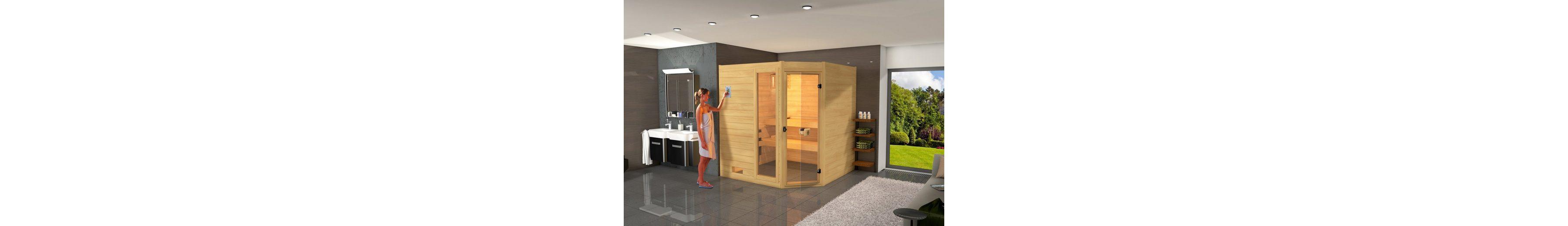 Sauna »Lars Eck 1«, 87/137/203,5 cm, 6,0-KW-Ofen mit int. Steuerung