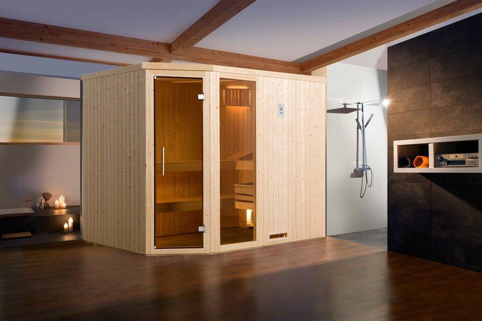 Sauna »Lyngdal 4 Trend Plus BioS«, 242/192/200 cm, 68 mm, 7,5-KW-Bio-Kombiofen in natur