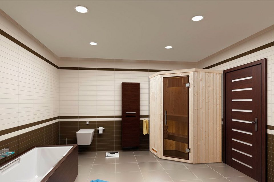 Weka Sauna »Lyngdal 1 Trend Kompakt«, 141/141/199 cm, 68 mm, 3,6-KW-Ofen in natur