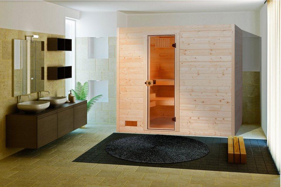 Sauna »Lars Trend 1«, 189/139/203,5 cm, 7,5-KW-Kombiofen in natur