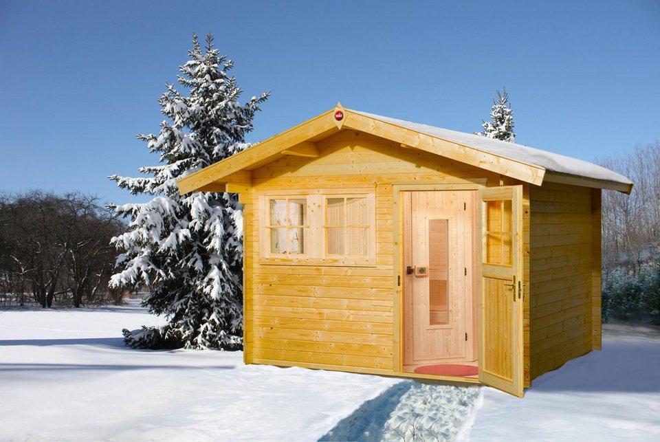 Sauna »Svendborg 3 Kompakt«, 300/300/262 cm ,8-KW-Ofen mit int. Steuerung in natur
