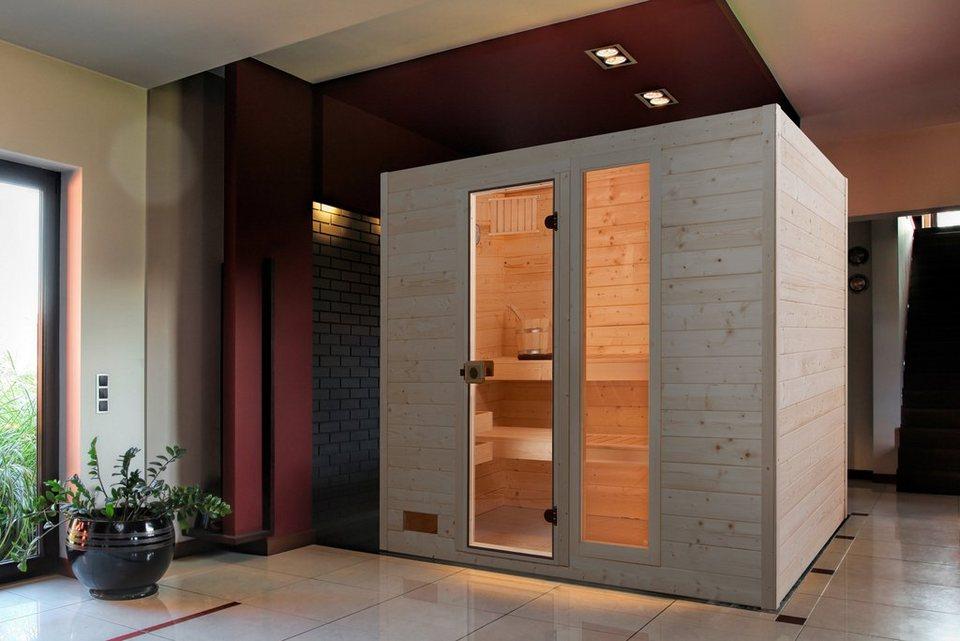 Sauna »Lars Trend 3«, 237/187/203,5 cm, 7,5-KW-Kombiofen in natur