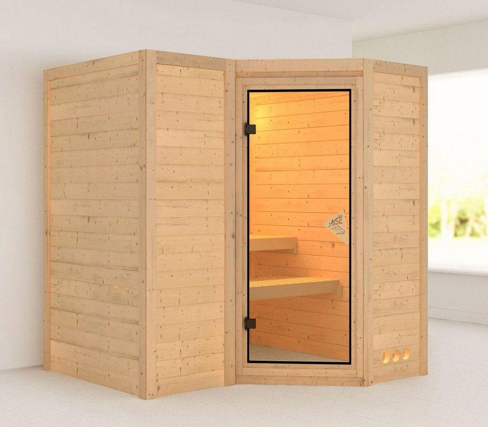 Massivholzsauna »Sahib 1«, 236/184/208 cm, ohne Ofen in natur